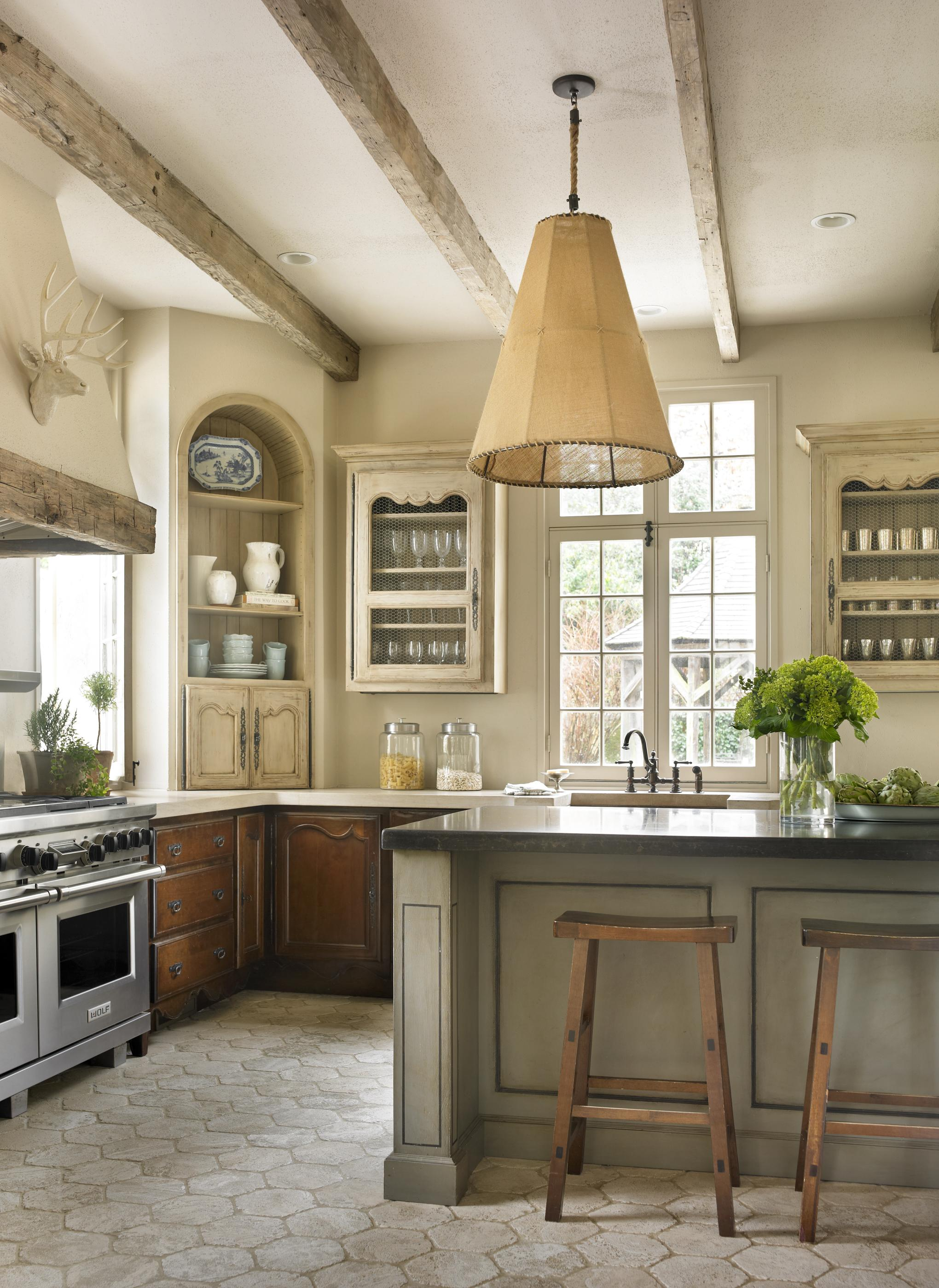 Country french kitchens traditional home - Country style kitchen cabinets ...