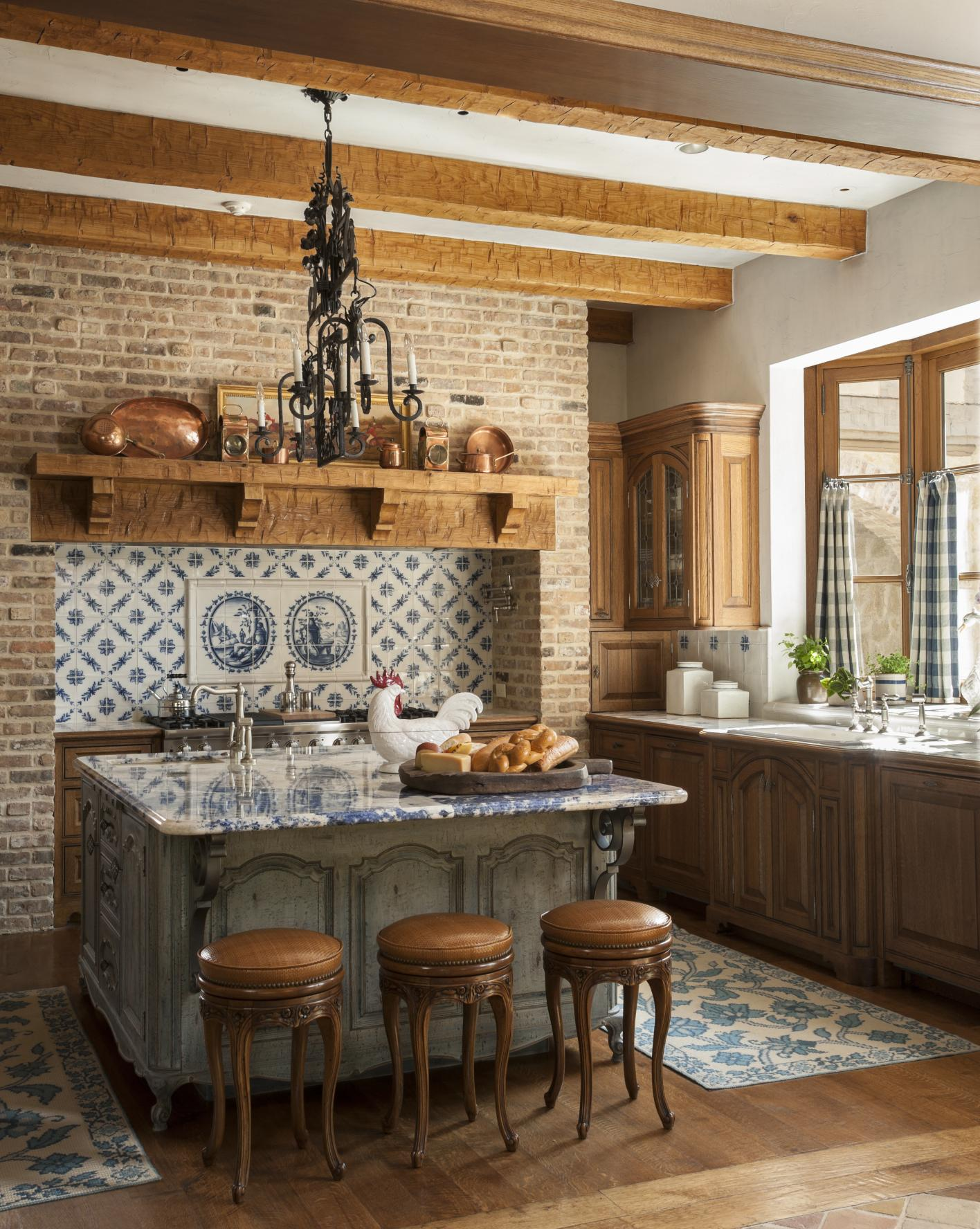 Country french kitchens traditional home for French kitchen artwork