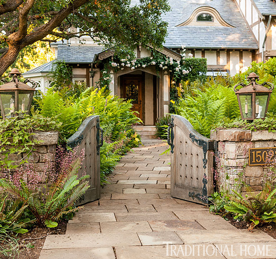 Old world garden in california traditional home for Traditional english home