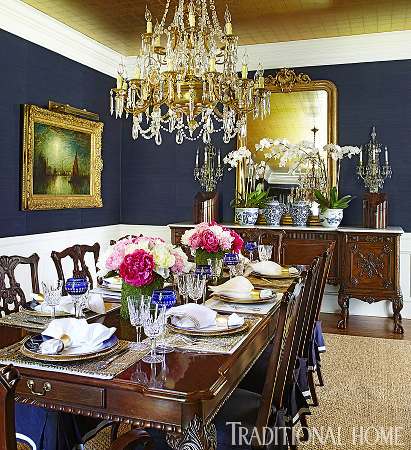 New home in navy and indigo traditional home for Navy dining room ideas