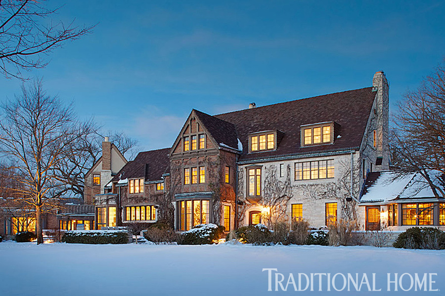 light and bright holiday style in a tudor traditional home