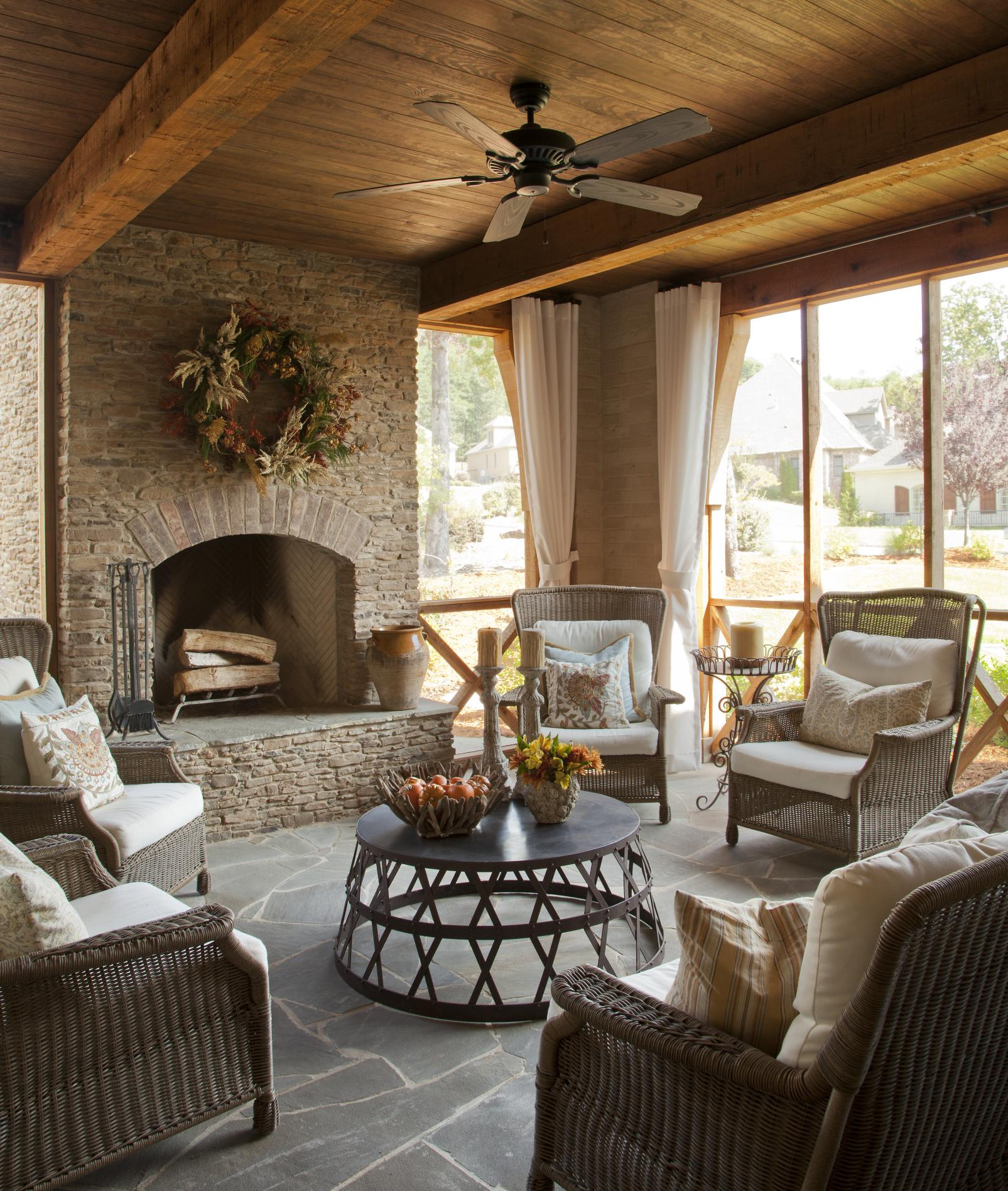 attractive living room of traditional french country home   Country French Loggias   Traditional Home