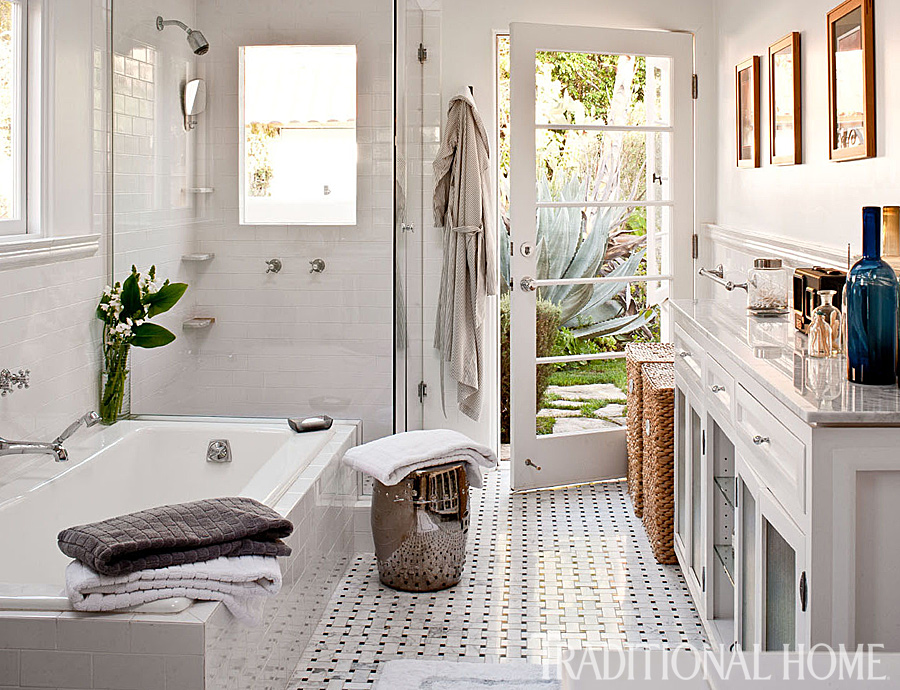 Fresh classic style in a west hollywood home for Master bathroom entrance