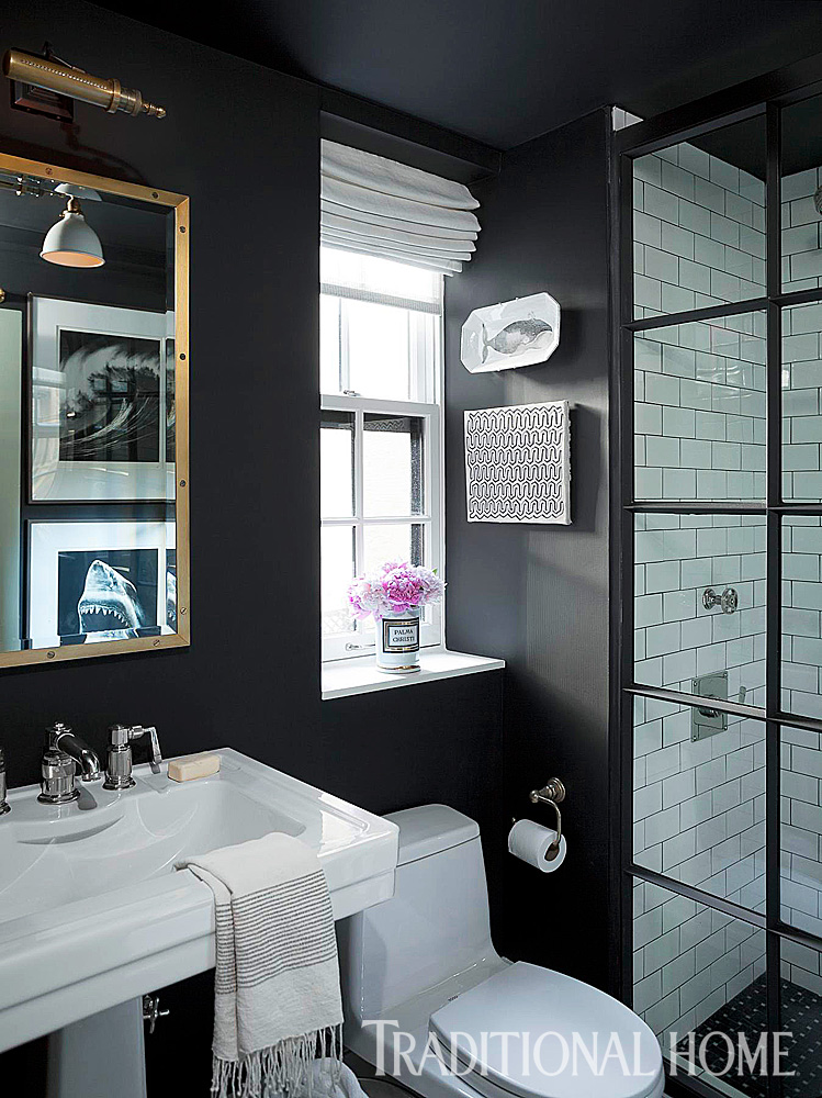 Beautiful black and white bathrooms traditional home for Dark bathrooms design