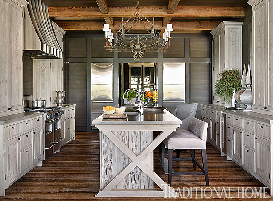 Gracious lakeside home traditional home for Traditional rustic kitchen design