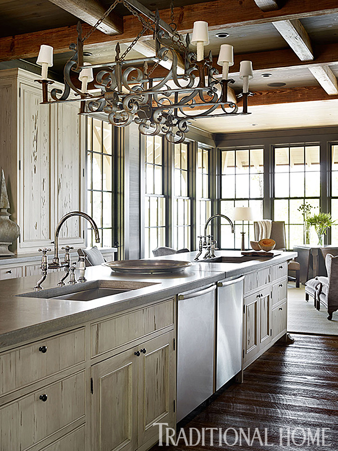 Gracious lakeside home traditional home for Lake house kitchen designs