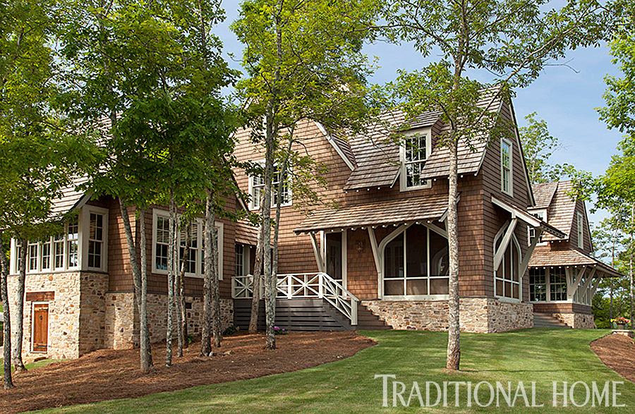 Gracious lakeside home traditional home for Conventional homes
