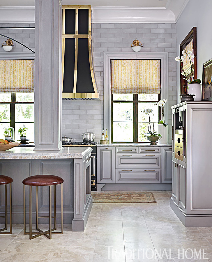 Glamorous gray showhouse kitchen traditional home for Glamorous kitchen designs