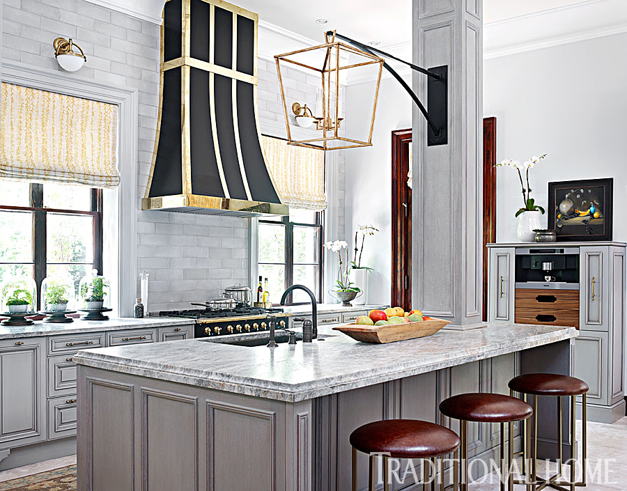 Glamorous Gray Showhouse Kitchen | Traditional Home - photo#3