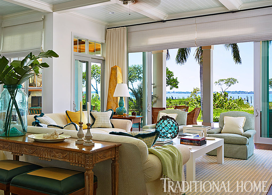 Colorful florida beach home designed by gary mcbournie for Traditional beach house designs