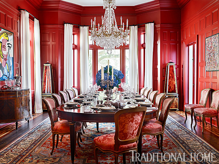 Updated historic charleston home traditional home for Traditional red dining room