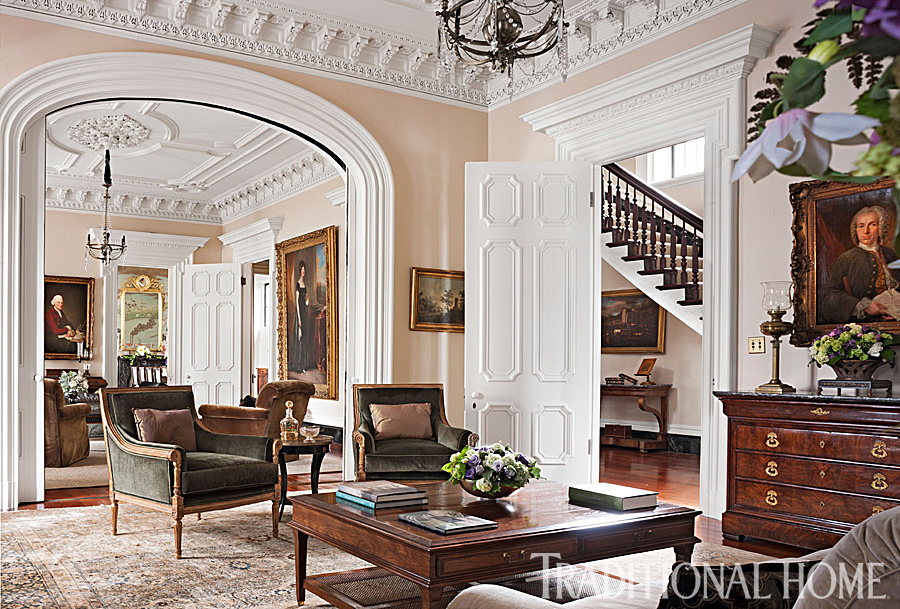 Beautiful grand charleston home traditional home for Traditional home decor