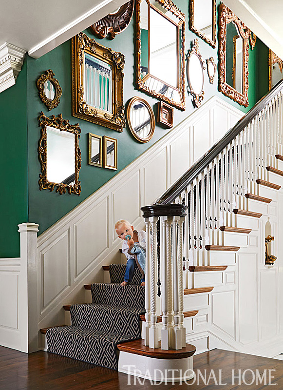 Stylish update for a historic detroit home traditional home for Mirror collage wall