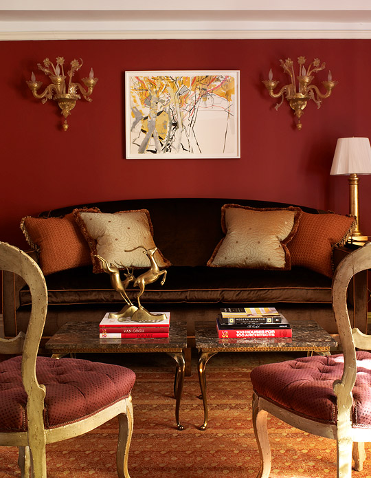 Palette the power of red traditional home - Black and orange living room ideas ...