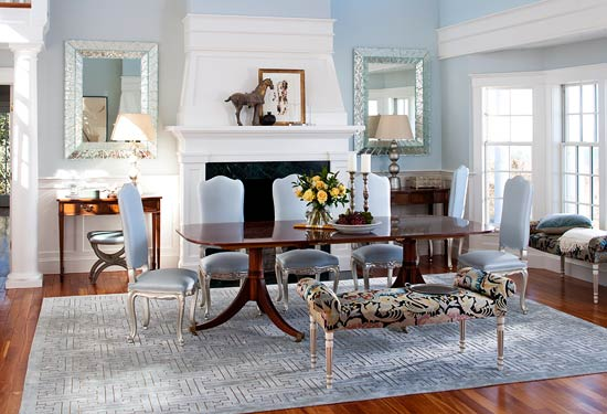 Dining Room With Icy Blue Palette