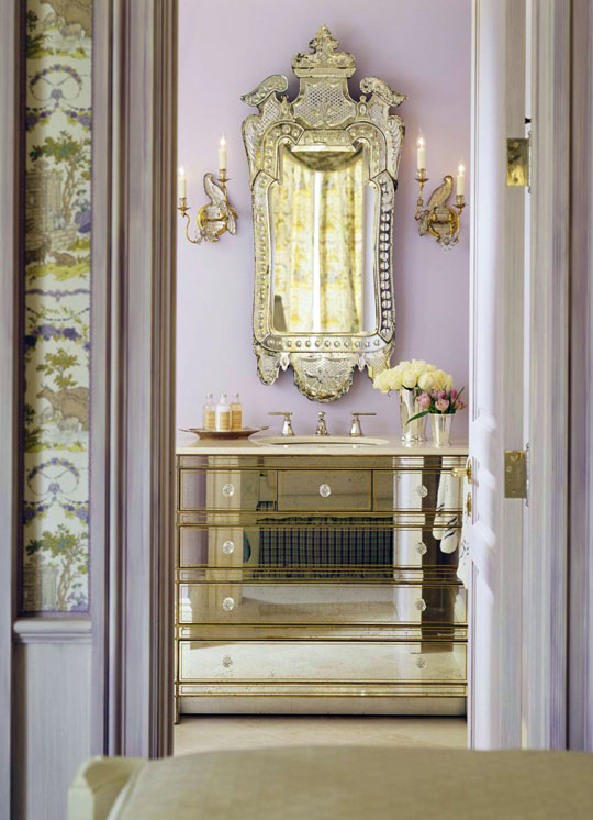 The Guest Bath Dazzles With A Mirrored Washstand, Designed By San Francisco  Interior Designer Kendall Wilkinson. Above It Hangs A Magnificent Venetian  ...