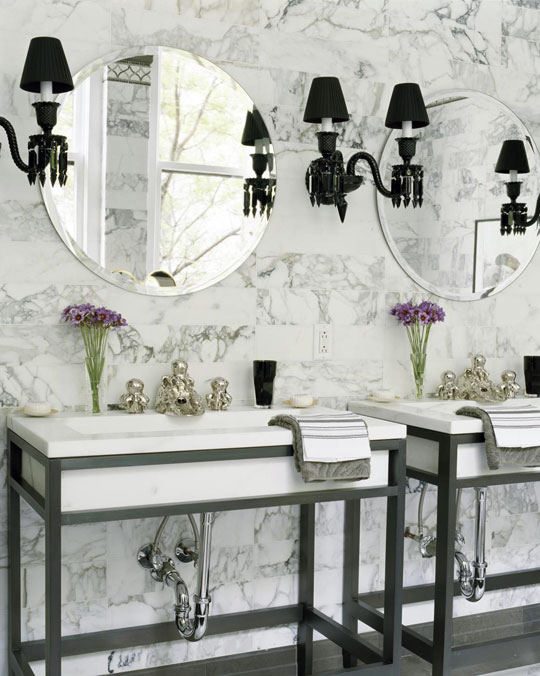 Black And White Bathroom Decor decorating: bath vanities | traditional home