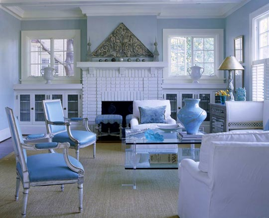 Beautiful Rooms In Blue And White Traditional Home Extraordinary Blue And White Living Room Decorating Ideas