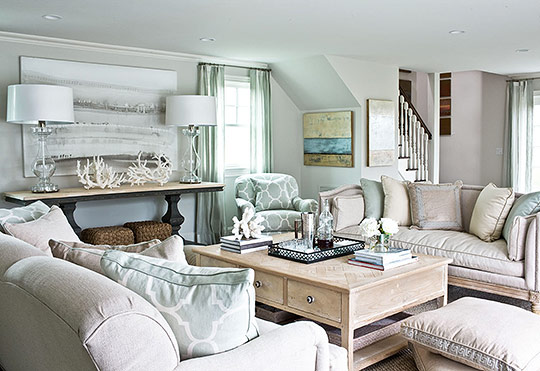 Put Your Feet Up Living Room Furniture From The Lillian August Collection  For Hickory White. Drapery Fabric By Romo. Lamps From Lillian August.