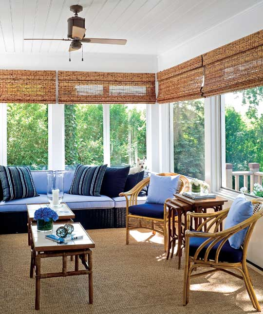 Snappy Blue and White Sunroom  Combining navy Beautiful Rooms in Traditional Home