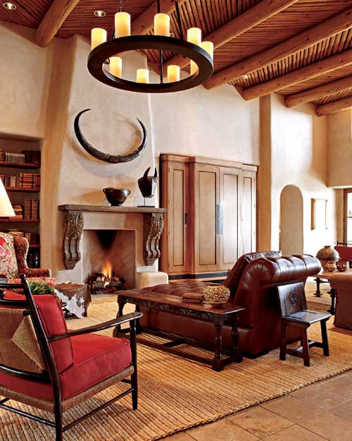 Pueblo style home with traditional southwestern design for Southwestern home decor