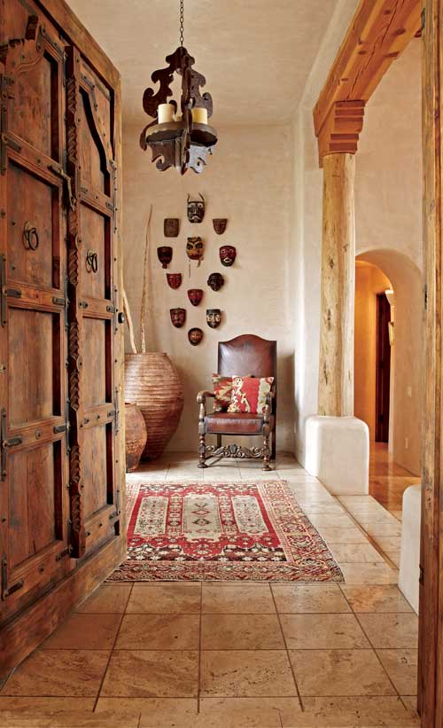 Pueblo style home with traditional southwestern design for Adobe home design