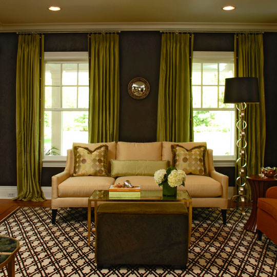 Decorating favorite fall colors traditional home for Green and brown living room walls