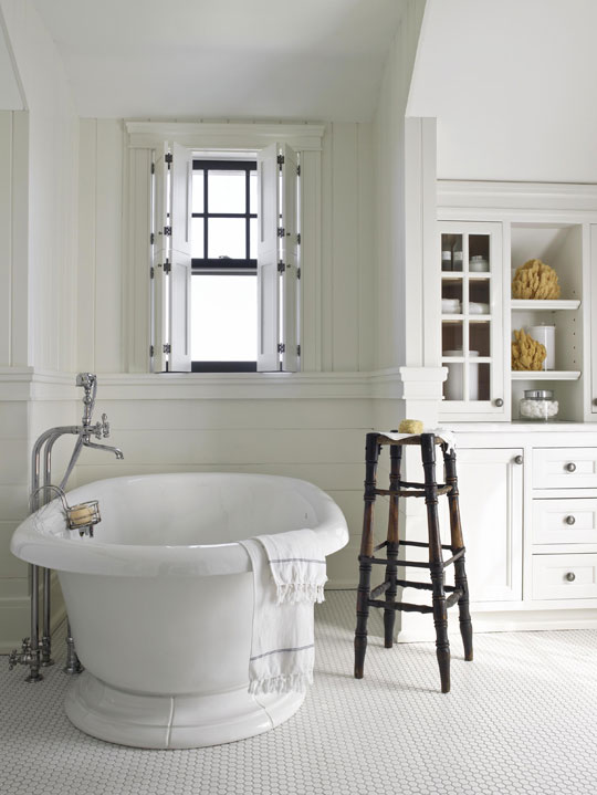 enlarge classic white master bath - Traditional Bathroom Tile Designs