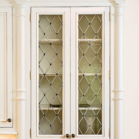 Glass Designs For Kitchen Cabinet Doors distinctive kitchen cabinets with glass-front doors | traditional home