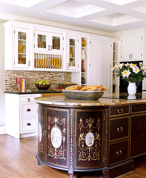 Chinoiserie Chests Unite To Create A Dramatic Design Statement In The Form  Of A Kitchen Island. An Oval Shape Marble Slab Unites The Two Chests With A  ...