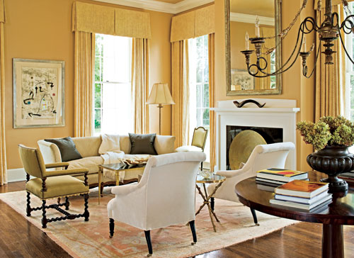 Warm And Welcoming Yellow Living Room
