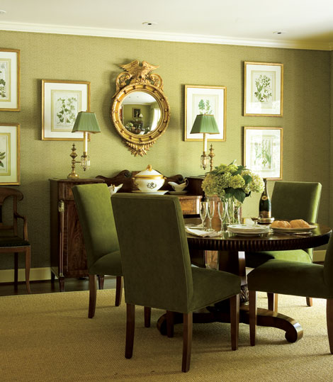 Decorating rooms with green palettes traditional home for Olive green dining room ideas