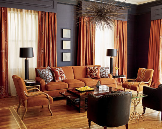 Living Room In Navy And Rust