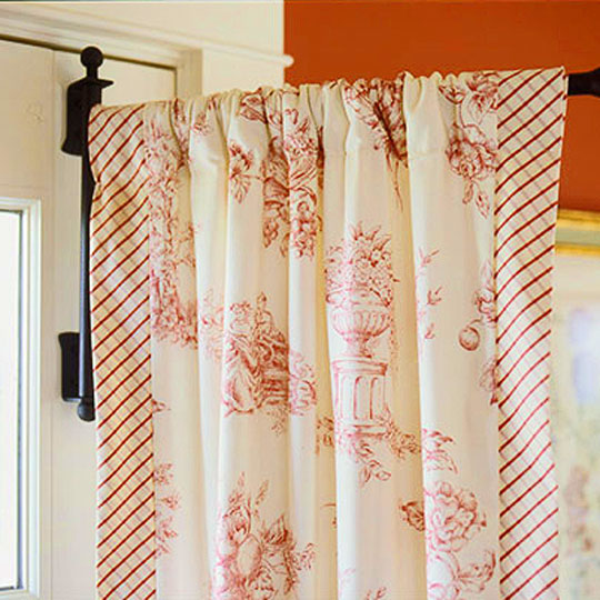 curtains favorite toile pom yellow toilecurtains put my with and red back fringe