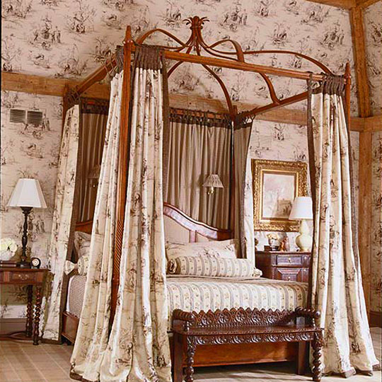 Marvelous Toile Creates Intimacy In A Bedroom With Soaring Ceilings And Abundant  Square Footage When Taken All The Way To The Beams And Repeated On A Bed  Canopy.