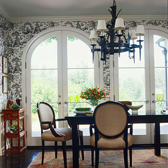 Decorating ideas toile fabric traditional home - Small home decor ideas ...
