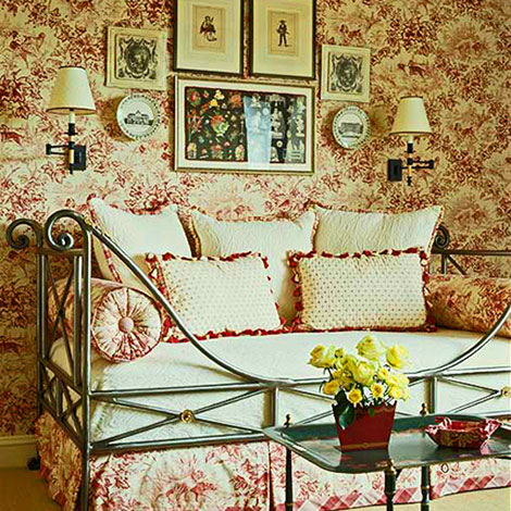 bedroom decorating ideas totally toile traditional home. Black Bedroom Furniture Sets. Home Design Ideas