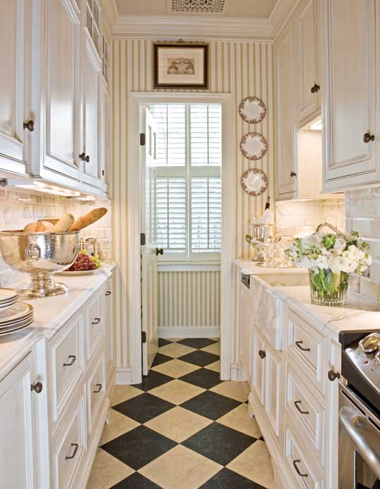 + ENLARGE. Gordon Beall. Glam Galley Kitchen Beautiful Neutrals And  Calacatta Marble Countertops ...