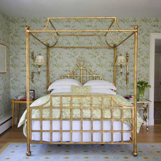 Serene Green Gold Bedroom