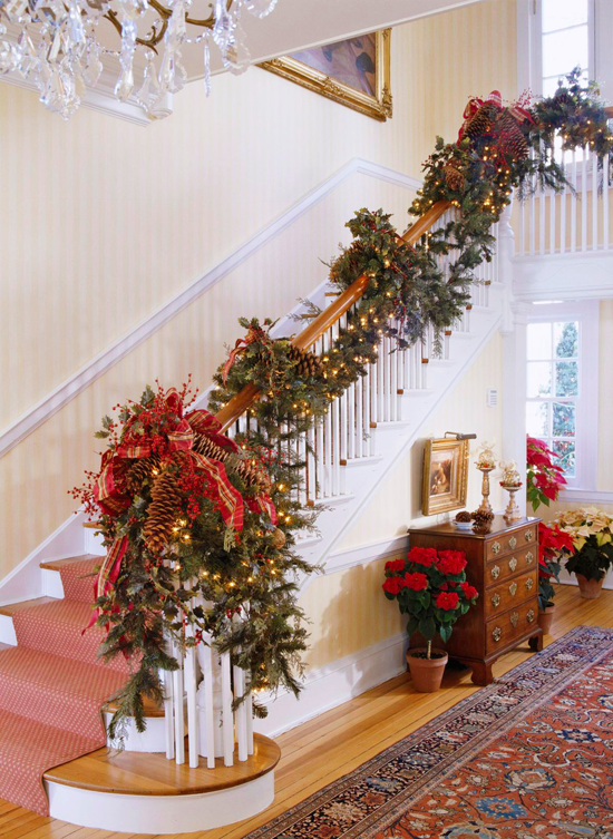 enlarge - Decorating Banisters For Christmas With Ribbon