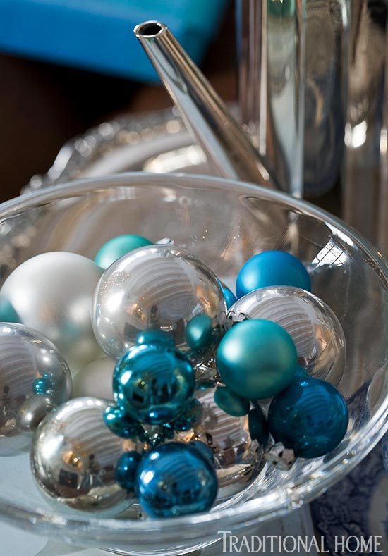 enlarge - Teal And Silver Christmas Decorations