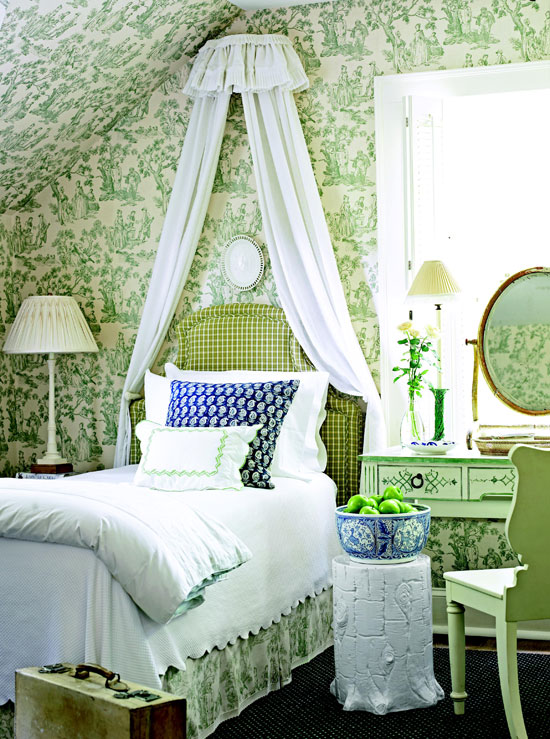 Charming Green Toile Guest Room