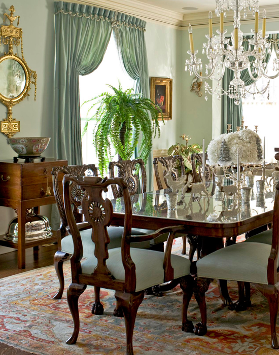 Designer home with multi hued holiday palette for Beautiful traditional dining rooms