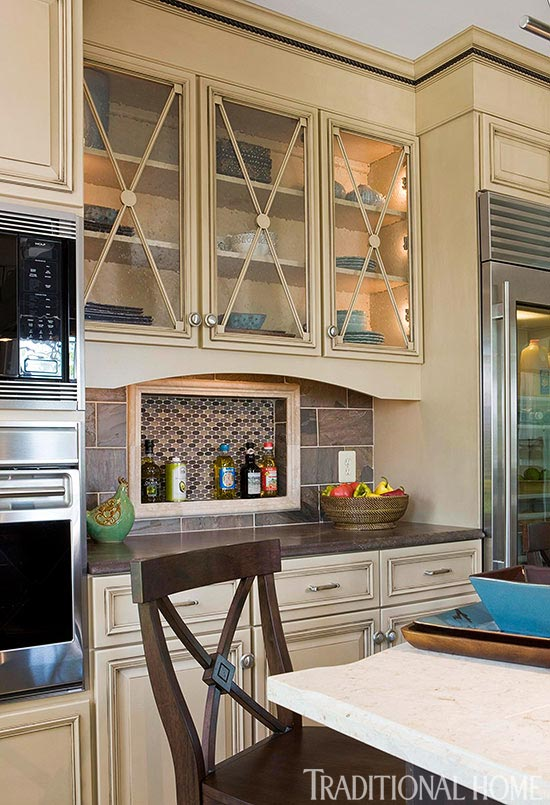 Glass In Kitchen Cabinet Doors Inspiration Distinctive Kitchen Cabinets With Glassfront Doors  Traditional Home Review