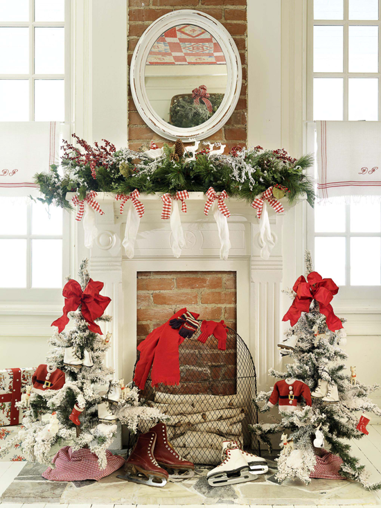enlarge - Christmas Fireplace Decorating Ideas