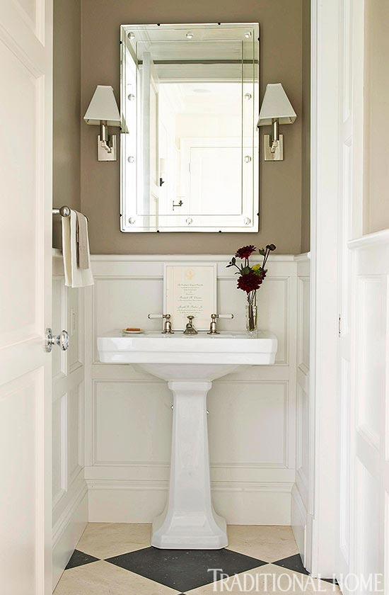 enlarge clean and simple powder room - Powder Room Pedestal Sink