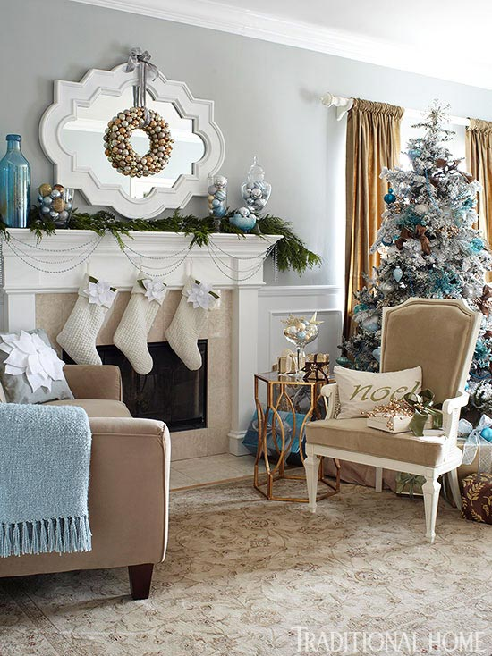 Blue And White Living Room Decorating Ideas holiday rooms in blue and white | traditional home