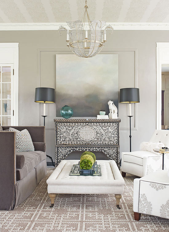Decorating gorgeous gray rooms traditional home for Grey and neutral living room