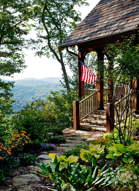 Lovely Mountain Summer Home with Terrific Color Traditional Home
