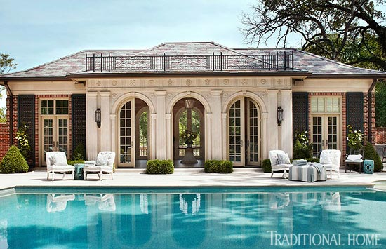 Pool House With Classic Architecture Traditional Home